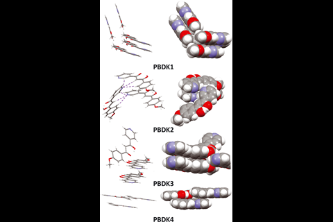 ball and stick diagrams of PBDK molecules
